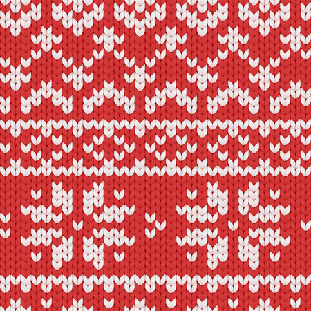 Seamless vector knitted pattern with white pattern in scandinavian style. Textile woolen winter background