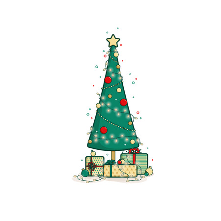 Christmas tree surrounded by gifts and Christmas decorations. Vector flat outline illustration in flat style.