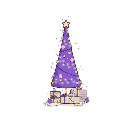 Christmas tree, surrounded by gifts and Christmas decorations. Vector flat outline illustration in flat style. 矢量图像