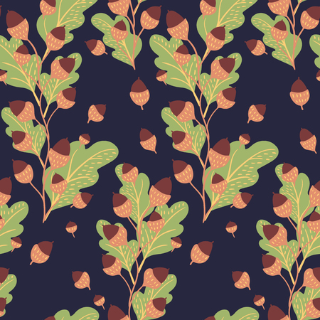 Seamless natural autumn pattern with oak leaves and acorns hand-drawn on dark background. Vector illustration for thanksgiving day.