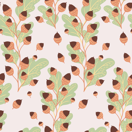 Seamless natural autumn pattern with oak leaves and acorns hand-drawn on light background. Vector illustration for thanksgiving day.
