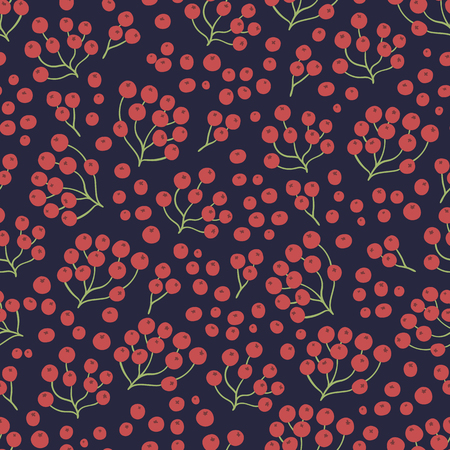 Seamless natural autumnal pattern on a dark background. Vector illustration for thanksgiving day. 矢量图像