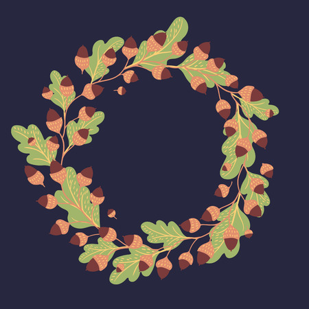 Vector background of a dark background. Round seasonal frame. 矢量图像
