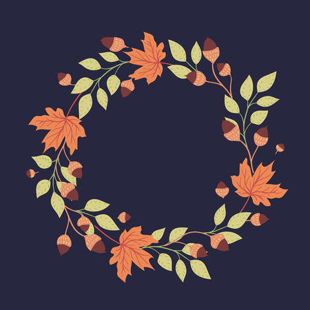 Colored autumn leaves on a dark background. Round seasonal frame.