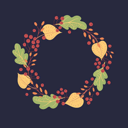 Autumn leaves, row, berries, barberry twigs on a dark background. Round seasonal frame.
