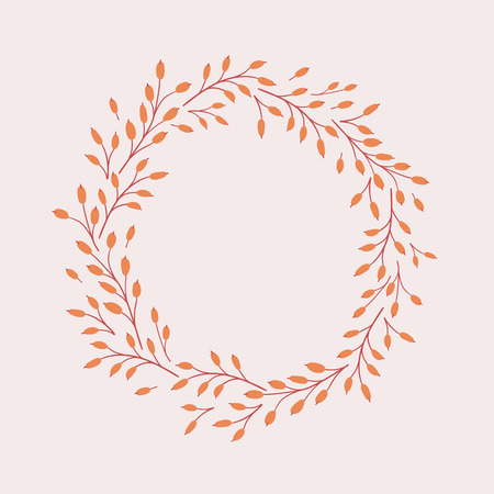Vector natural autumn background. Round seasonal frame.