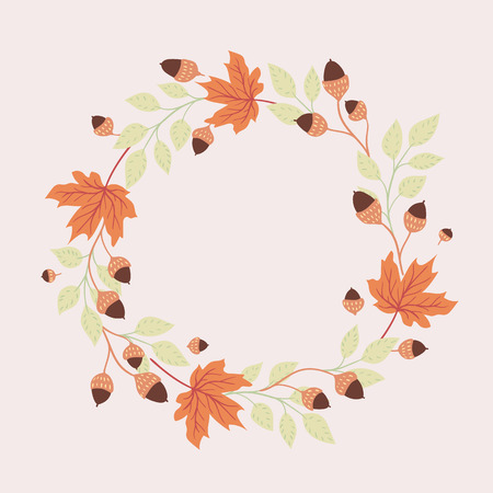 Colored autumn leaves on white background. Round seasonal frame. 矢量图像