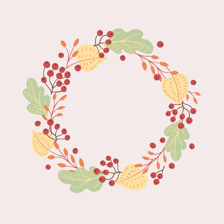 Vector berries autumn leaves, barberry twigs on a light background. Round seasonal frame.