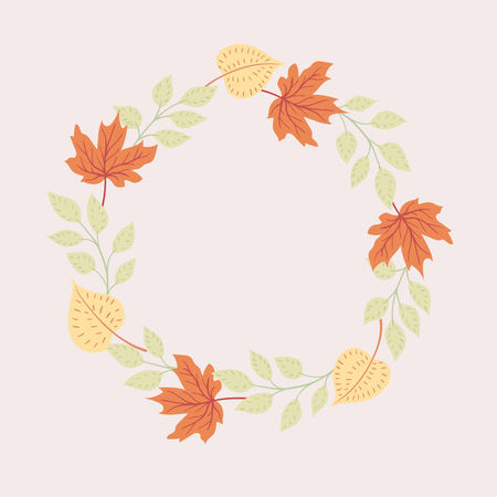Colored autumn leaves on a light background. Round seasonal frame.