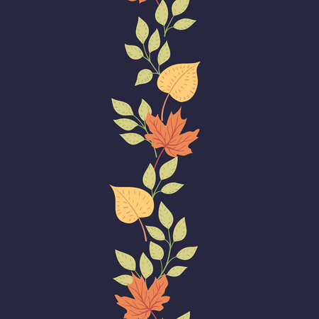 Autumn leaves on a dark background. Natural seasonal illustration drawn by hand.