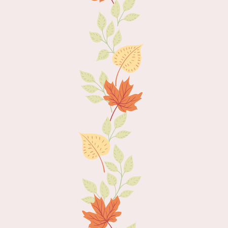 Autumn leaves on a light background. Natural seasonal illustration drawn by hand. 矢量图像