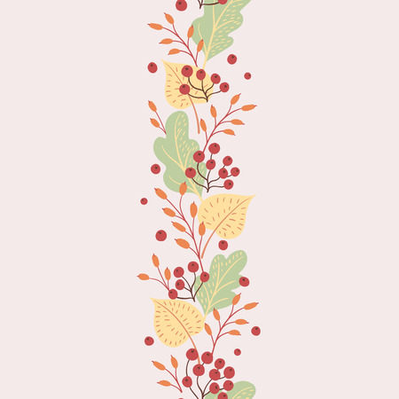 Rainbow leaves on white background. Natural seasonal illustration drawn by hand. 矢量图像