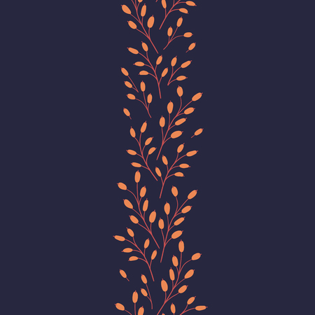 Vector seamless pattern on a dark background. Natural seasonal illustration drawn by hand.