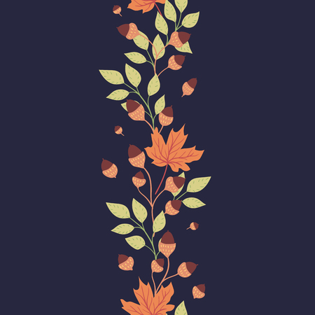 Bright autumn leaves on a dark background. Natural seasonal illustration drawn by hand. 矢量图像