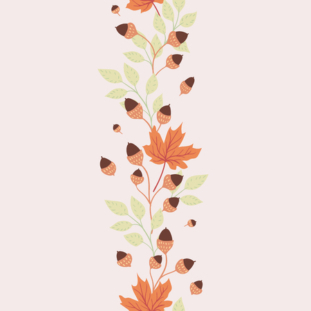 Autumn leaves on white background. Natural seasonal illustration drawn by hand. 矢量图像