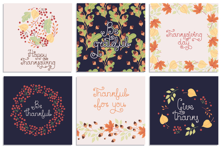 Set of hand-drawn Thanksgiving Day vector greeting cards. Holiday wishes. All items can be used separately.