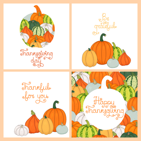 Collection of vector greeting cards for Thanksgiving, hand-drawn. Phrases for the holiday 矢量图像