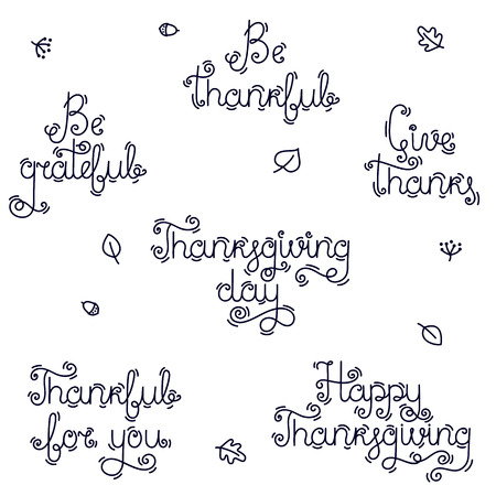 A set of handwritten phrases and quotes for thanksgiving day. Collection of vector lettering. Typography for greeting cards and holiday parties.