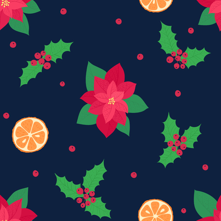 Christmas elements on a dark background. Vector illustration. Happy new year