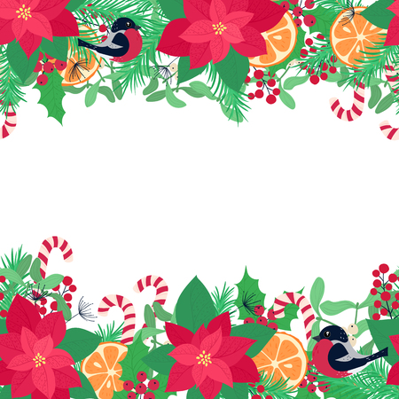 Christmas elements on white background. Vector illustration. Happy new year