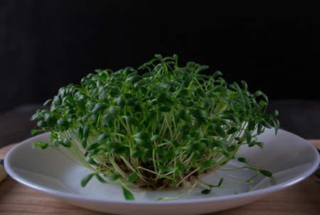 Fresh cress on wooden table. Healthy vegetarian food. Selective focus