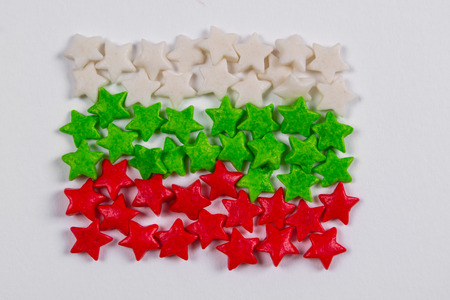 Bulgaria flag made of little colorful sprinkles candy on white background Stock Photo