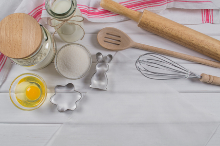 Preparation of gingerbread cookies. Ingredients and tools necessary to make gingerbread pastry Stock Photo