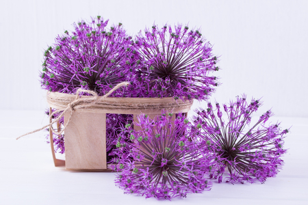 Allium flowers in a wooden basket on a white background