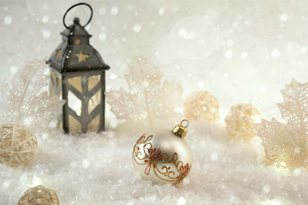 New Years decoration ball on snow background. Christmas card Stock Photo