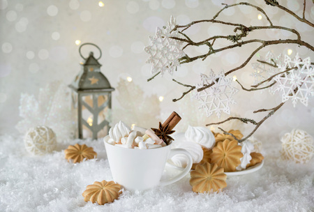 Holiday cup of cocoa with marshmallow or coffee with spice and home cookies. Christmas background.