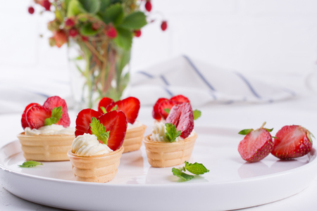 Fresh and tasty  snack  with cream cheese  fruits and berries. Strawberries time