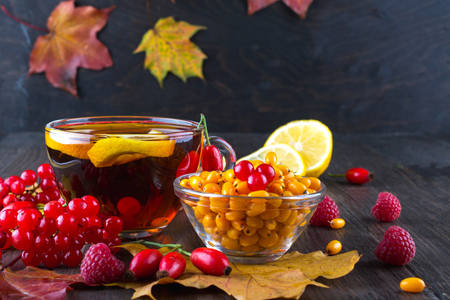 Autumn healthy beverages concept. Cup of tea with autumn berries sea buckthorn,  viburnum, rose hip, rowan and fall leaves. Drink with vitamin c