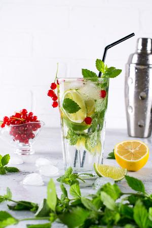 Cold summer homemade fruit and berries lemonade. Mojito, lemonade or sangria in glass.