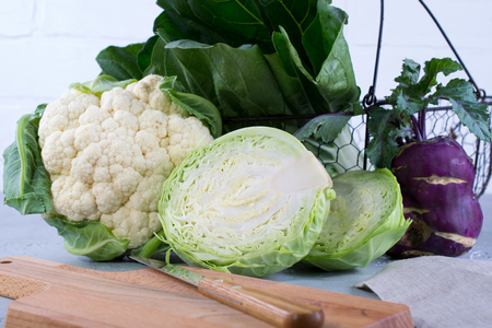 Many kinds of fresh cabbage Ingredients for the preparation of vegetable dishes. cauliflower, leaf cabbage, bok choy , kohlrabi