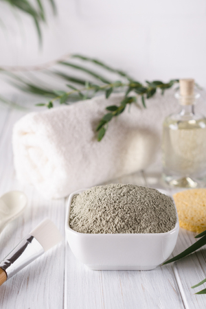 Natural ingredients for homemade facial and body mask or scrub. Spa and bodycare concept.
