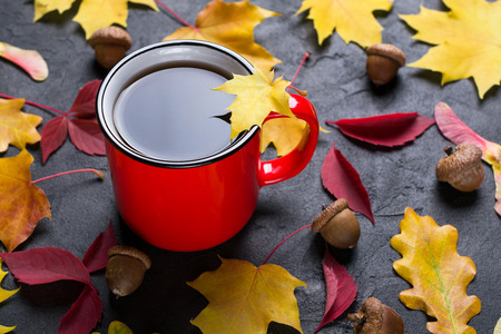 Autumn colorful  leafs and red cup of tea on    dark concrete background Stock Photo