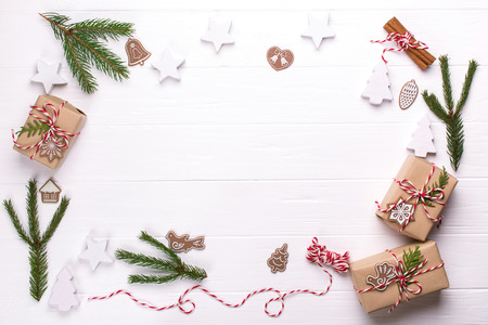 Frame with Christmas gift boxes collection, decorations and pine tree