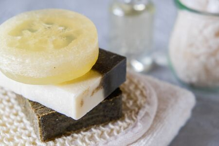 Spa treatments with natural soap and towels. Healthy skin care