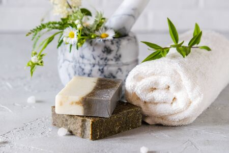 Healthy skin care. SPA concept. Natural handmade soap with dried herbs and flowers , sea salt. Natural Herbal Products.