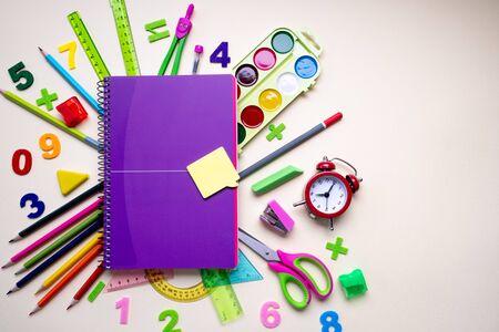 School supplies on light background. Back to school concept Zdjęcie Seryjne