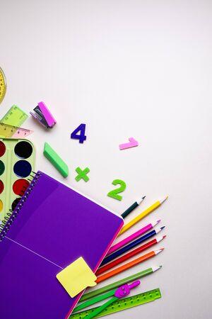 School supplies on light background. Top view. Copy space. Zdjęcie Seryjne