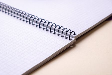 top view of a open notebook  school notebooks with a spiral spring, office notepad in diagonal