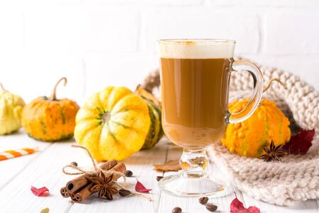 Traditional autumn dishes. Halloween, Thanksgiving. Mug of  hot and spicy aromatic pumpkin latte with whipped cream on top. Ingredients for cook spicy pumpkin latte on white background