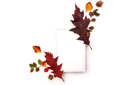 Autumn background with natural decor. White photo frame, autumn dried leaves. Flat lay, top view. Copy space for seasonal promotions and discounts
