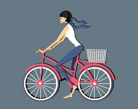 Brunette woman riding on a pink bicycle Vector