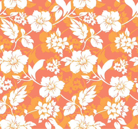 white and orange floral seamless pattern Vector