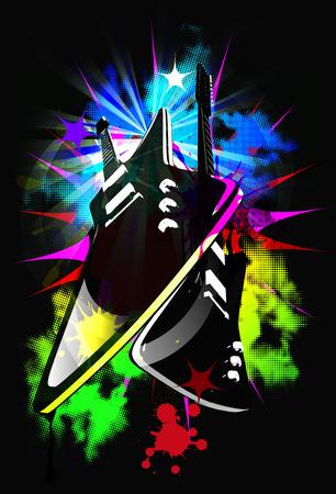 Electrogitars on the colorful background