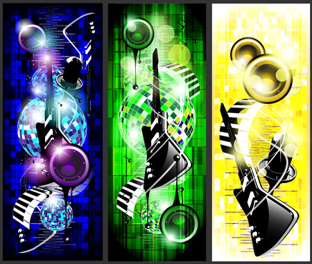 gitar: Electrogitars on the colorful background with microphon Stock Photo