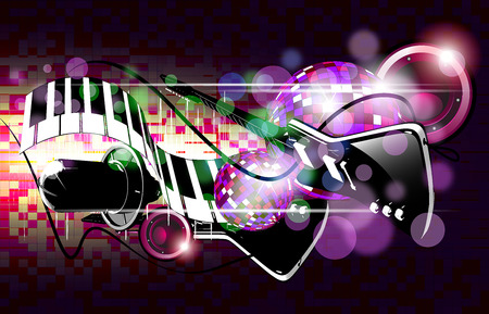 Electrogitars on the colorful background with microphon Stock Photo