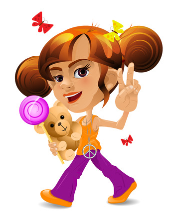 A cartoon little girl with a toy bear and a candy Vektorové ilustrace